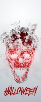 Kreatywny baner na halloween. napis halloween i czaszka na jasnym tle.