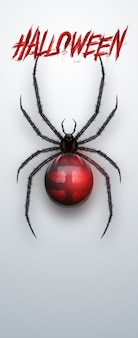 Kreatywny baner na halloween. napis halloween i pająk na jasnym tle.