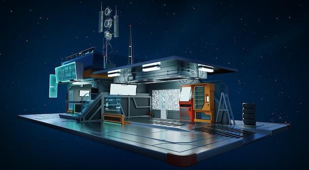 Kreatywny i futurystyczny garaż koncepcyjny. fotorealistyczne renderowanie 3d.