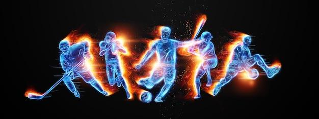 Kreatywny kolaż różnych sportowców. pojęcie zakładów sportowych, reklamy, sportu, zdrowego stylu życia. piłka nożna, koszykówka, hokej, baseball, futbol amerykański. ilustracja 3d, renderowanie 3d.