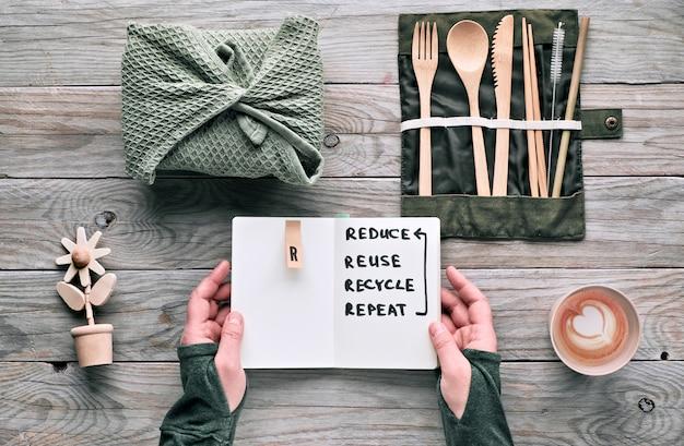 """Kreatywny, leżący na płasko, zero odpadów lunch z zestawem drewnianych sztućców wielokrotnego użytku, pudełkiem na lunch z tkaniny i filiżanką kawy wielokrotnego użytku. zrównoważony styl życia, uwaga: """"zmniejsz, wykorzystaj ponownie, poddaj recyklingowi, powtórz""""."""