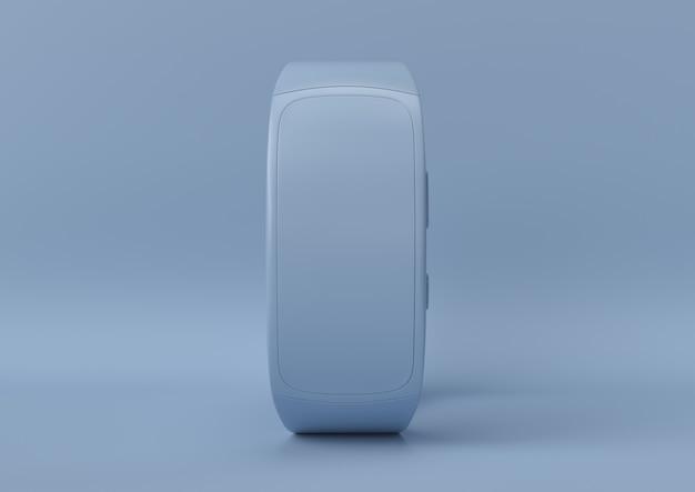 Kreatywny minimalny pomysł na lato. koncepcja niebieski smartwatch z pastelowym tłem. renderowania 3d.