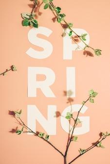 Kreatywny napis wiosna i kwitnące gałęzie