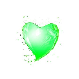 Kreatywny plusk zielonego napoju w kształcie płatka koniczyny z kropelkami na białej ścianie, kopia przestrzeń. koncepcja happy st patrick's day.
