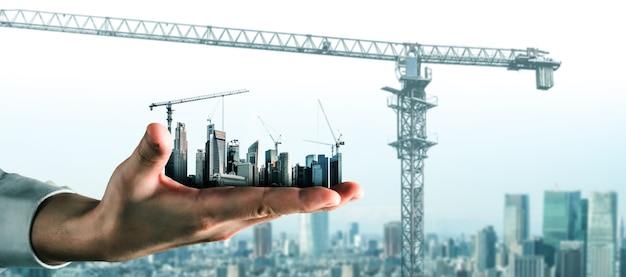 Kreatywny projekt graficzny przedstawiający koncepcję budowy miasta infrastruktury przez profesjonalnego architekta, pracownika i inżyniera.