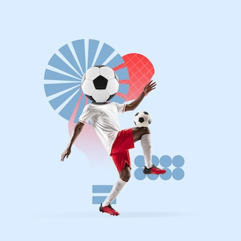 Kreatywny sportowy i geometryczny styl. piłka nożna, piłkarz w akcji, ruch na niebieskim tle. ujemne miejsce na wstawienie tekstu lub reklamy. nowoczesny design. współczesny kolorowy i jasny kolaż artystyczny.