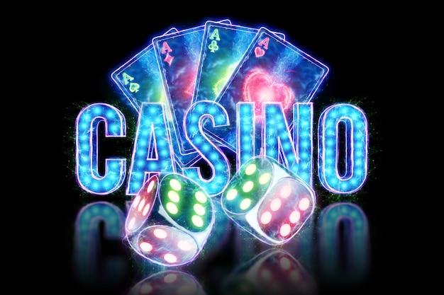Kreatywny szablon pokera, neonowe karty do gry i projekt kości na ciemnym tle. koncepcja kasyna, hazard, nagłówek witryny. skopiuj miejsce, ilustracja 3d, renderowania 3d.