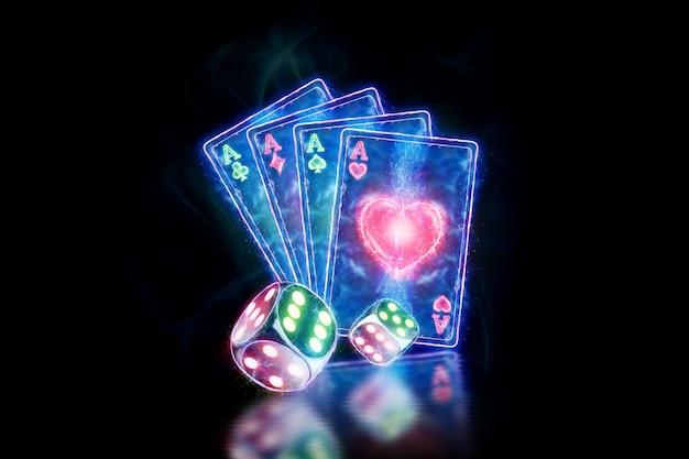 Kreatywny szablon pokera, zaprojektuj neonowe karty do gry i kostkę na ciemnym tle. koncepcja kasyna, hazard, nagłówek witryny. skopiuj miejsce, ilustracja 3d, renderowania 3d.
