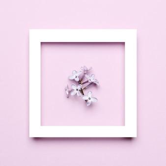 Kreatywny układ ramki z wiosennych kwiatów bzu na różowym tle. minimalna koncepcja wakacje. płaski wzór świecki.
