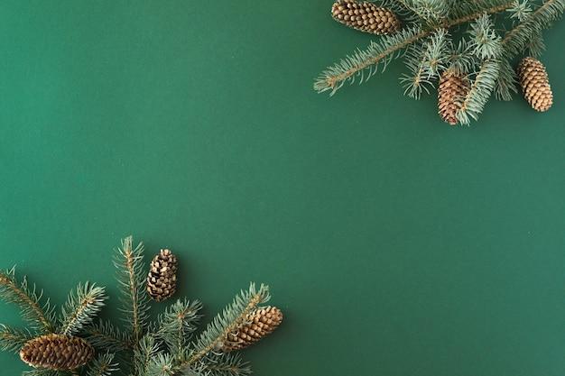 Kreatywny układ wykonany z gałęzi choinki na tle zielonej księgi. leżał płasko. widok z góry. koncepcja nowego roku natury.