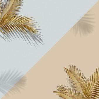 Kreatywny układ wykonany z kolorowych tropikalnych liści na złotym tle minimalna letnia egzotyczna koncepcja