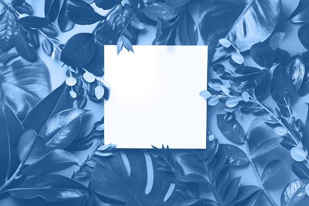 Kreatywny układ wykonany z tropikalnych liści w monochromatycznych kolorach. modny niebieski i spokojny kolor. leżał płasko. widok z góry.
