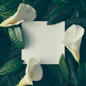 Kreatywny układ złożony z zielonych liści i białych kwiatów z karteczkową notatką