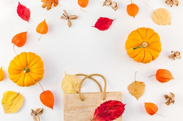 Kreatywny widok z góry płaska kompozycja jesień torba na zakupy suszone pomarańczowe kwiaty liście dynie tło kopia przestrzeń