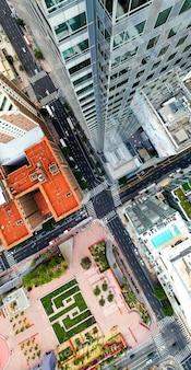 Kreatywny widok z lotu ptaka na panoramę miasta