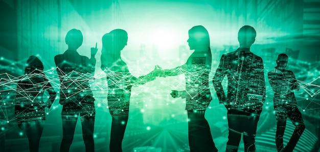 Kreatywny wizerunek wielu ludzi biznesu spotkania grupowego konferencji