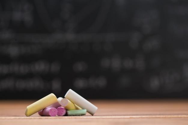 Kreda szkolna na drewnie i tle tablicy napisana wzorami matematycznymi i równaniami
