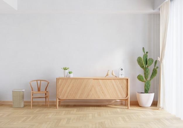 Kredens z drewna we wnętrzu salonu z renderowaniem 3d przestrzeni kopii