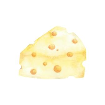 Kredki akwarelowe i kolorowe ręcznie rysowane hiece sera. płytka sera w kształcie żółtego trójkąta z okrągłymi otworami na białym tle.