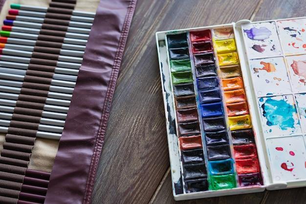 Kredki, pędzle i farby akwarelowe