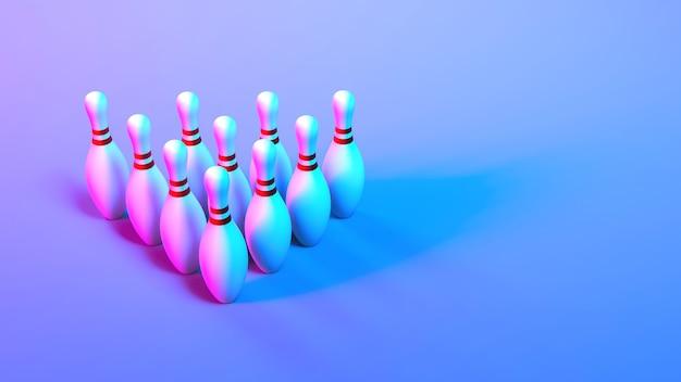 Kręgle ustawione w świetle neonowym z bliska, ilustracja 3d