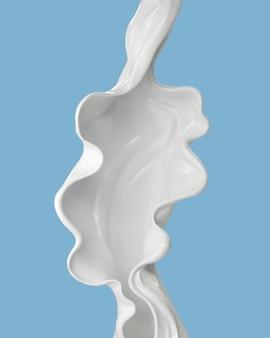 Krem mleczny lub biały płyn w abstrakcyjnym kształcie