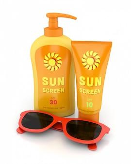 Krem przeciwsłoneczny i czerwone okulary przeciwsłoneczne