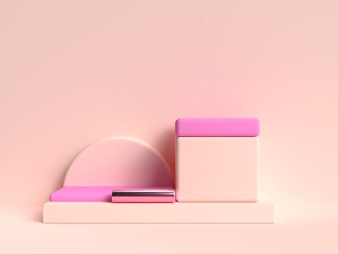 Kremowy różowy pastelowy abstrakcyjny zestaw geometryczny kształt sceny renderowania 3d