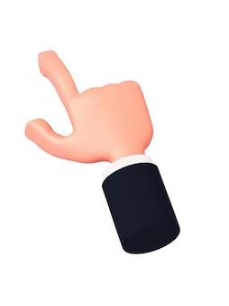 Kreskówka 3d ręka z rękawem wskazuje palcem lekko w lewo lub klika coś