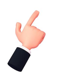 Kreskówka 3d ręka z rękawem wskazuje palcem lekko w prawo lub klika coś