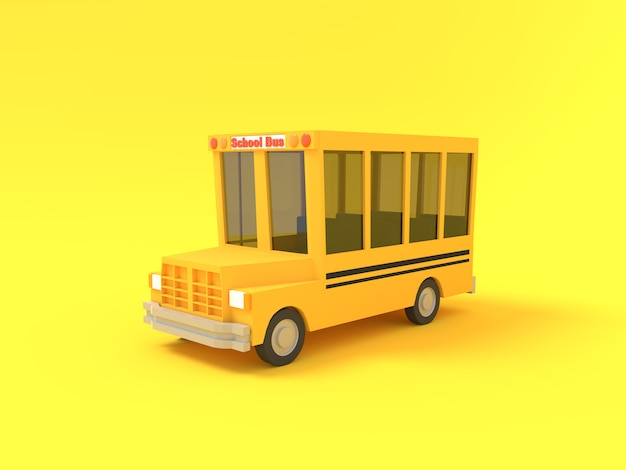 Kreskówka autobusu szkolnego kolor żółty na żółtym tle. prosta ilustracja na białym tle szkoły. renderowanie 3d.