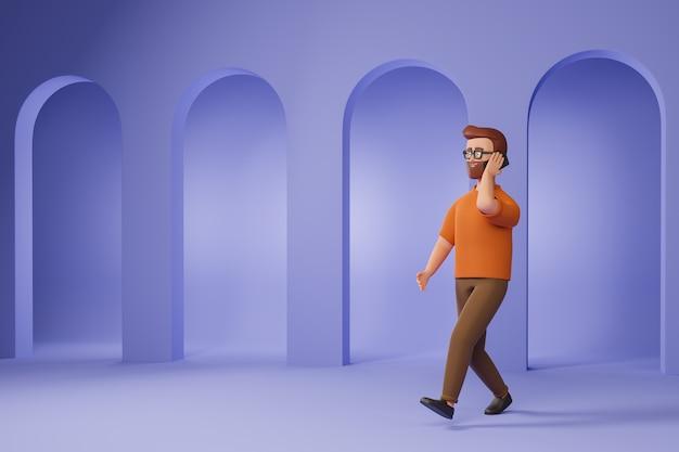 Kreskówka broda mężczyzna w okularach i pomarańczowy t-shirt spacery i mówić smartphone na fioletowym tle. ilustracja renderowania 3d.