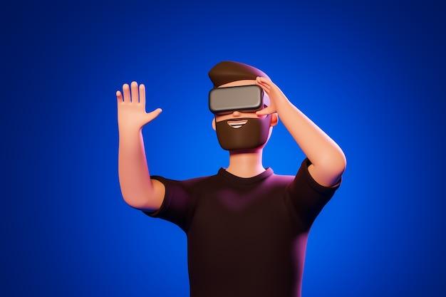 Kreskówka broda postać człowieka w czarnej koszulce używać gogle wirtualnej rzeczywistości na niebieskim tle. ilustracja renderowania 3d