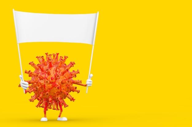 Kreskówka coronavirus covid-19 wirus maskotka osoba charakter i pusty biały pusty transparent z wolnym miejscem na swój projekt na żółtym tle. renderowanie 3d