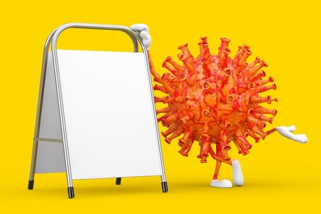 Kreskówka coronavirus covid-19 wirus maskotka osoba charakter z białym pustym stojakiem reklamowym na żółtym tle. renderowanie 3d