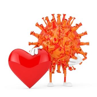 Kreskówka coronavirus covid-19 wirus maskotka osoba postać z czerwonym sercem na białym tle. renderowanie 3d