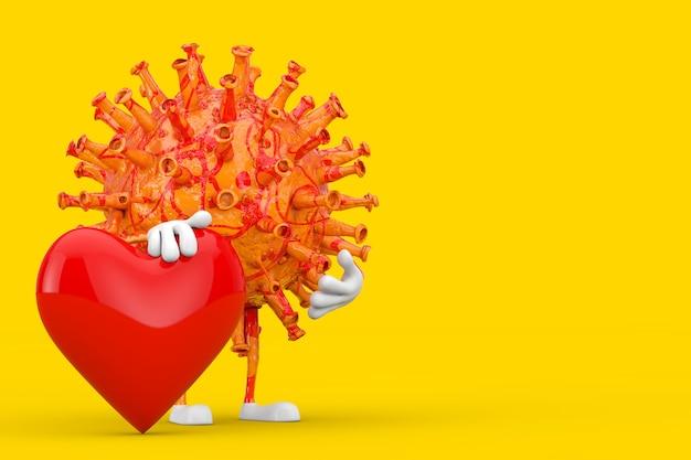 Kreskówka coronavirus covid-19 wirus maskotka osoba postać z czerwonym sercem na żółtym tle. renderowanie 3d