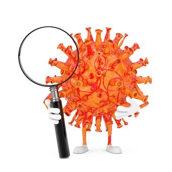 Kreskówka coronavirus covid-19 wirus maskotka osoba postać z lupą na białym tle. renderowanie 3d