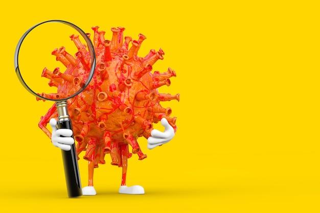 Kreskówka coronavirus covid-19 wirus maskotka osoba postać z lupą na żółtym tle. renderowanie 3d