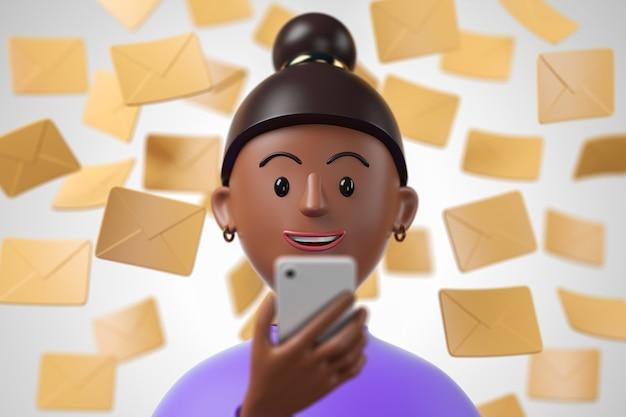 Kreskówka czarna african american kobieta w fioletowej koszuli za pomocą smartfona z żółtym maile spadające na tle. ilustracja renderowania 3d.