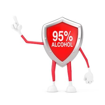 Kreskówka czerwony metal medyczny 95% alkoholu dezynfektor tarcza maskotka osoba charakter gestykuluje palcem na białym tle. renderowanie 3d