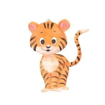 Kreskówka dziecko tygrys odizolowywający