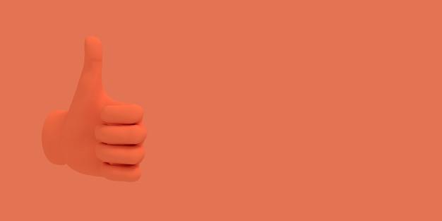 Kreskówka kciuk w górę. ilustracja na czerwonym tle koloru. renderowanie 3d