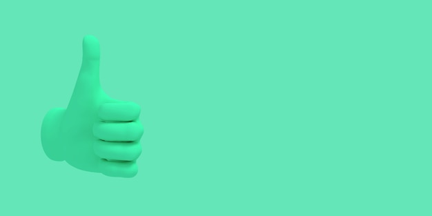 Kreskówka kciuk w górę. ilustracja na zielonym tle koloru. renderowanie 3d
