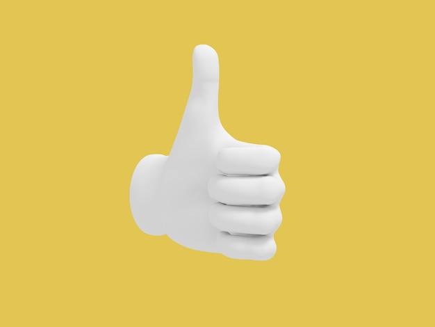 Kreskówka kciuk w górę. ilustracja na żółtym tle koloru. renderowanie 3d