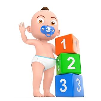 Kreskówka ładny chłopczyk bawi się zabawkami dla dzieci plastikowa tęcza kolorowe 123 kostki na białym tle. renderowanie 3d