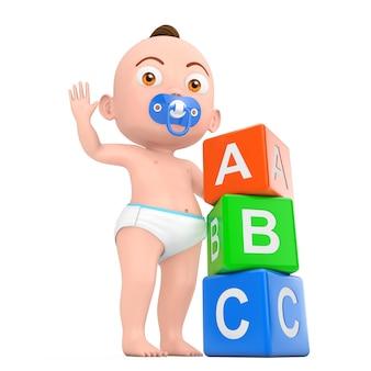 Kreskówka ładny chłopczyk bawi się zabawkami dla dzieci plastikowe rainbow kolorowe kostki abc na białym tle. renderowanie 3d