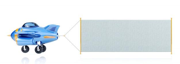 Kreskówka latający samolot z długim sztandarem tkaniny