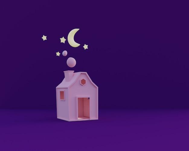 Kreskówka mały różowy dom w nocy śliczna ilustracja renderowania 3d