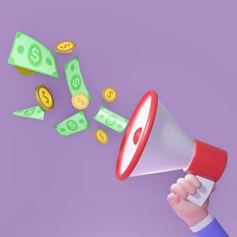 Kreskówka megafon trzyma ręką człowieka biznesu na fioletowo. ilustracja renderowania 3d